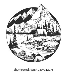 Wild natural landscape with mountains, lake, pines, rocks. Hand drawn illustration converted to vector. Great for travel ads, brochures, labels, flyer decor, apparel, t-shirt print.