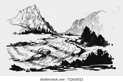 Wild natural landscape with mountains and river. Hand drawn illustration converted to vector.
