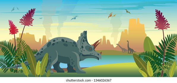 Wild nature with dinosaurs, green ferns, lake and mountains. Prehistoric illustration with extinct animals and plants. Vector nature landscape with triceratops, diplodocus and pterodactyls.