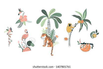 Wild nature hand drawn vector illustrations set. Exotic flora and fauna. Tiger, flamingo. Tropical animals and flowers. Cute monkey, sloth. Jungle animals poster, t shirt prints, design elements