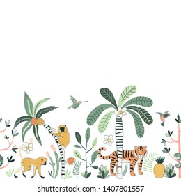 Wild nature vector color horizontal seamless pattern. Jungle fauna, rainforest background. Flying colibri, tiger and monkey. Exotic plants. Decorative animal textile, wallpaper, wrapping paper design