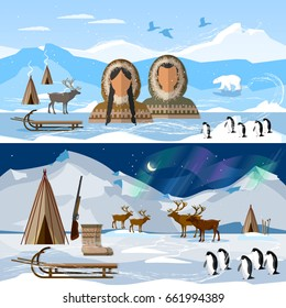 Wild north arctic banner, people in traditional eskimos costume and arctic animals. Life in the far north. Reindeer, polar day and polar night. Extreme journey to Alaska