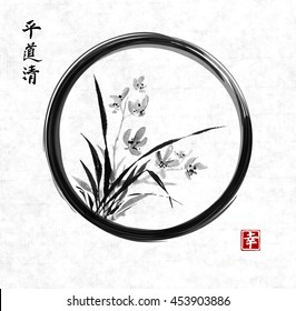 Wild orchid on meadow in black enso zen circle. Traditional Japanese ink painting sumi-e on rice paper background. Contains hieroglyphs - happiness, peace, clarity, way