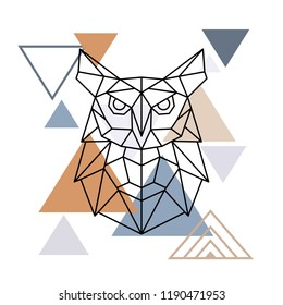 Wild owl in geometric style. Vector illustration in the Scandinavian style.