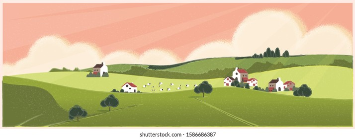Wild panoramic rural countryside in spring or summer.Green hill with bush and tree. Concept of Europe farm agriculture with sheep in spring or summer.