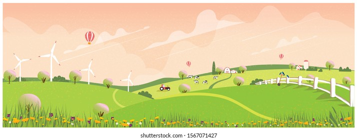 Wild panoramic rural countryside in spring.Green hill with apple blossom allay with canola and spring flower.Concept of farm agriculture in spring.