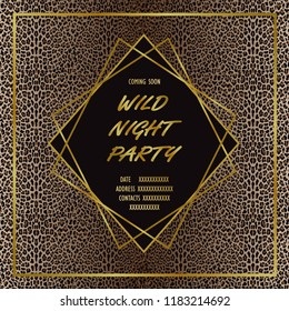 Wild Party Invitation Card with leopard print and gold geometric artdeco element. Luxury mock up, template for greeting, birthday cards, covers and posters with text place.