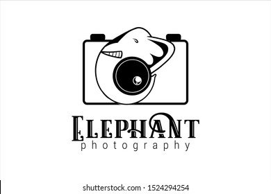 wild photography logo template with an elephant trunk as a camera lens symbol