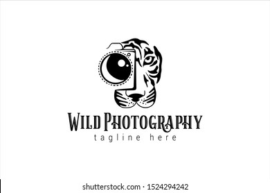 wild photography logo template with tiger's face take a shoot