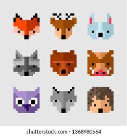 Wild pixel animals. Forest animals pixel art. Wild fauna. Game design animals. Arcade pixel game animals. Video game forest. Fox, deer, hare, raccoon, bear, boar, owl, wolf, hedgehog