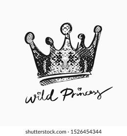 wild princess slogan with hand drawn crown on snake skin