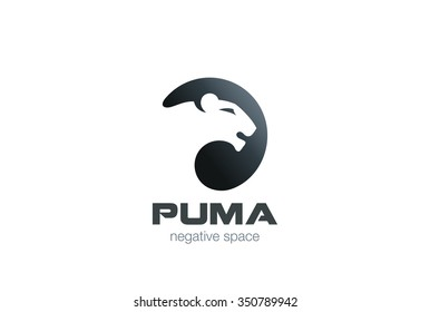 Wild Puma Logo design vector template negative space. Creative Animal in circle Logotype concept icon.