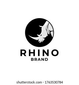 Wild Rhino Circle Brand Logo Template