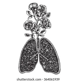 Wild rose bush growing out of the lungs. Symbolic image of the senses. Vector illustration.