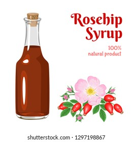 Wild Rose Hip Syrup in a glass bottle isolated on white background. Dog rose flowers and berries. Vector illustration of natural sweets in cartoon flat style.