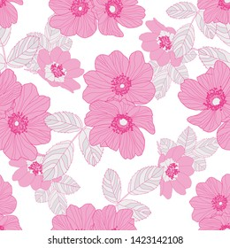 Wild rose in pastel pink colour of petals and light grey and white leaves with deeper pink outline. Seamless vector pattern.