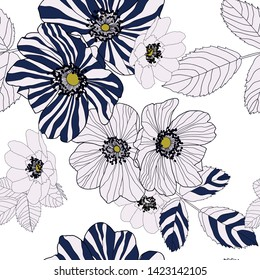 Wild roses flowers in combination of white petals and navy blue and white stripes with accent of yellow in centre of the flower style. Seamless vector pattern.