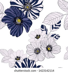Wild roses flowers and leaves in navy stripe style, dark navy blu, purple blue and white colour with yellow in centre of flower style. Seamless vector pattern on white background.