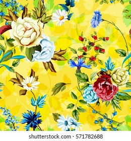Wild Roses, peony, cornflowers, chamomile with leaves on yellow. Stylized. Watercolor, hand drawn. Seamless background pattern. Vector - stock.