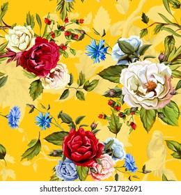 Wild Roses, peony, cornflowers, with leaves and humming bird on background on yellow. Stylized. Watercolor, hand drawn. Seamless pattern. Vector - stock.