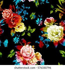 Wild Roses, peony, cornflowers, with leaves on black background. Stylized. Watercolor, hand drawn. Seamless pattern. Vector - stock