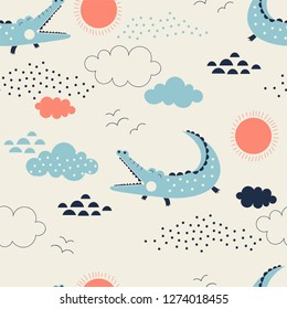 wild savannah with cute allegator pattern, safari seamless background, summer kids and nursery fabric textile print