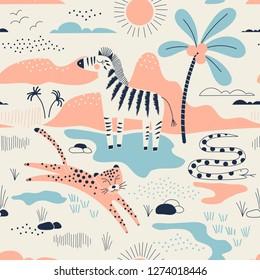 wild savannah park with zebra, leopard and snake pattern, safari seamless background, summer kids and nursery fabric textile print