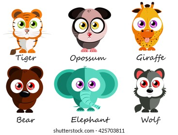 Wild. Set cute animals for use as stickers, pictures in books, games, fabric and other projects