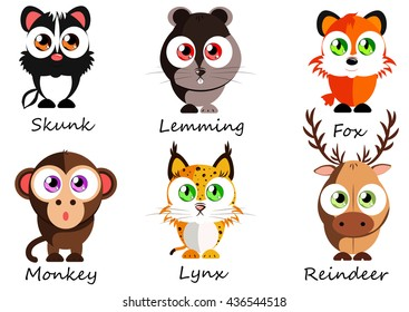 Wild. Set cute animals for use as stickers, images in books, lessons, games and other projects for kids