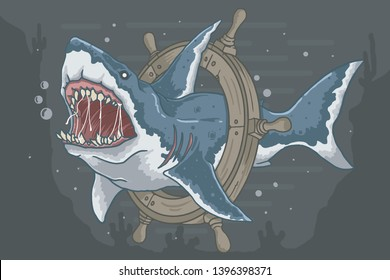 wild shark with angry face in deep ocean fullcolor, good for t shirt, poster, card, element, etc. this file use eps file vector editable layer