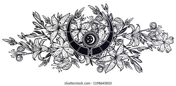 Wild sharp summer lilium flowers, field bouquet sketch in line art style with magic moon inside. Elegant floral tiger lily blossom, romantic decoration. Botanical vector isolated illustration.