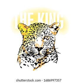 """Wild  slogan design featuring a lettering that reads """"The King"""" for apparel, shirt, clothing, tee, digital printing, print, etc."""