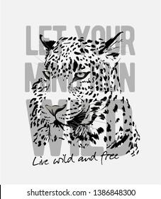 wild slogan with leopard head graphic illustration