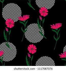 Wild small flowers in seamless pattern on dark background with dots.