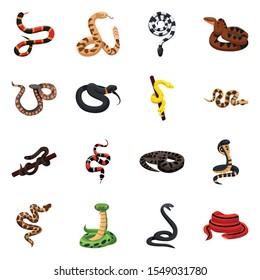 Wild snake vector cartoon icon.Set Illustration of poisonous snake and wild animal. Vector set of icon python, viper, cobra.