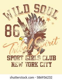 Wild soul eagle style graphic design vector art