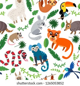Wild South America animals seamless pattern. American cute drawing animal in flat style isolated on white. Including puma, armadillo, humming bird, sloth, snake coral snake, lama, alpaca, toucan