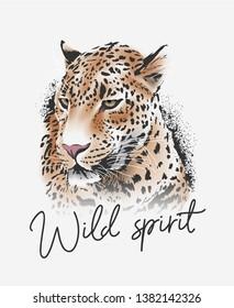 wild spirit slogan with leopard illustration