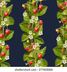 Wild strawberries seamless vertical background
