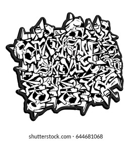 Wild style graffiti piece isolated on white background. Crossing messy arrows. Hip hop texture