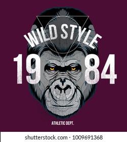 wild style t shirt , gorilla design vector file