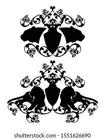 wild tiger coat of arms - big cat with heraldic shield among rose flowers black vector silhouette set