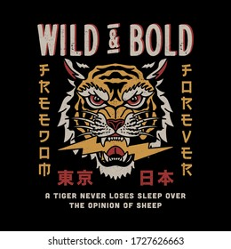 Wild Tiger Head Illustration with Wild and Bold Slogan and Tokyo Japan Words with Japanese Letters Vector Artwork for Apparel and Other Uses