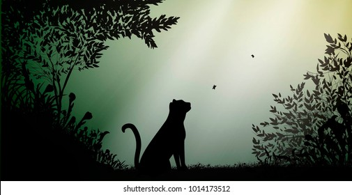 wild tiger or pantera in the jungle forest with beams of light, wild nature animal life silhouette, vector