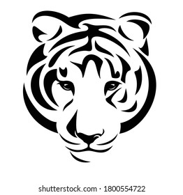 wild tiger (panthera tigris) looking forward - animal head black and white vector portrait design