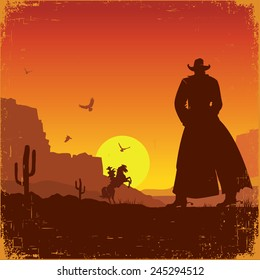 Wild West american poster.Vector western illustration with cowboys
