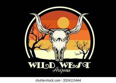 wild west arizona merchandise design with skull