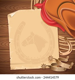 Wild west background with cowboy hat and American lasso.Vector old paper for text on wood table