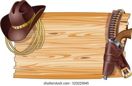 wild west background with cowboy hat, lasso and gun belt