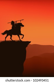 wild west background - native american chief riding a horse - silhouette on top of a cliff against sunset sky